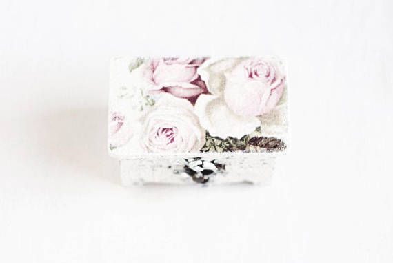 Wedding Ring Box, Ring Bearer Box, Shabby Chic Ring Box Wedding, Ring Holder, Rustic Ring Box With Vintage Roses, Ring Pillow Alternative