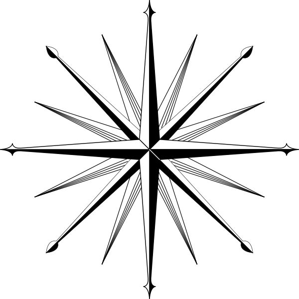 Compass Outline | Wind Rose Compass Rose clip art