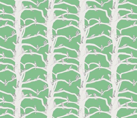 up a tree soft green fabric design by van_laun on Spoonflower - custom fabric