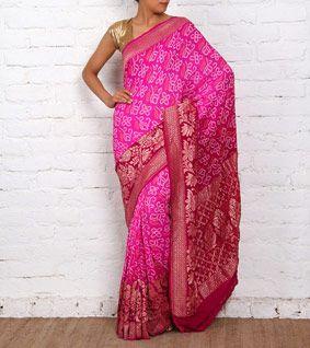 Purple Bandhej Banarasi Georgette Saree