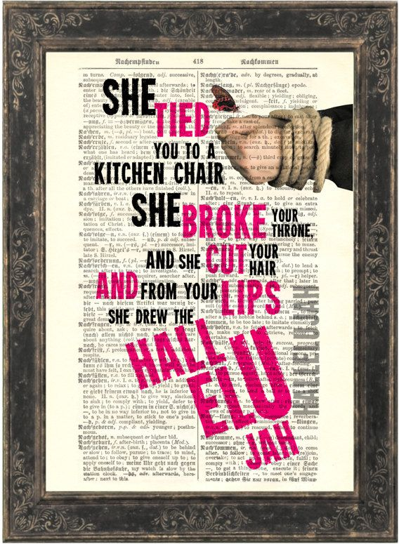 Leonard Cohen Hallelujah song lyric Print on upcycled Vintage German English Dictionary Page. $8.00, via Etsy.