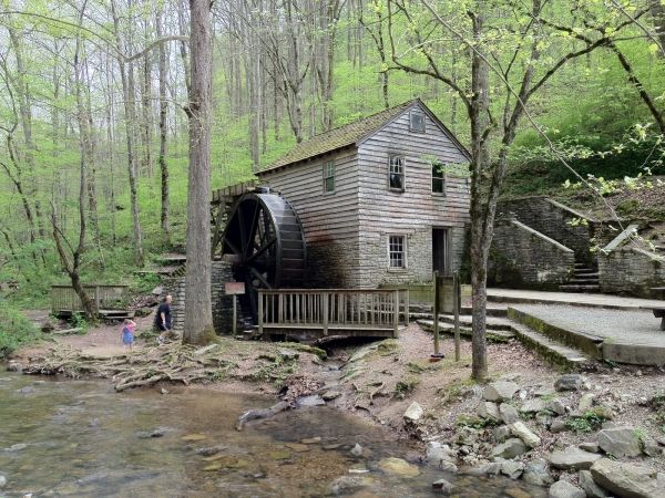 The Rice Grist Mill, originally constructed in 1798, was operated by four generations of the Rice family. Various uses over the years included powering a sawmill, a cotton gin, a trip hammer, and even operating a dynamo that supplied electrical lights for the Rice home in 1899. TVA purchased the land the mill stood on which was to be flooded by the building of Norris Dam. The mill was carefully disassembled and reassembled within Norris Dame State Park in Tennessee.