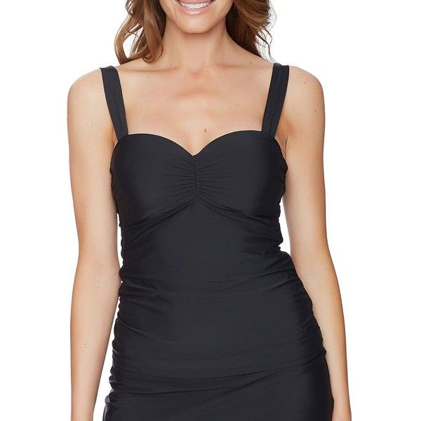 Athena Athena Cabana Solids Underwire Tankini ($78) ❤ liked on Polyvore featuring swimwear, bikinis, black, athena swimwear, scrunch bikini, slimming swimwear, slimming tankinis and underwire tankini