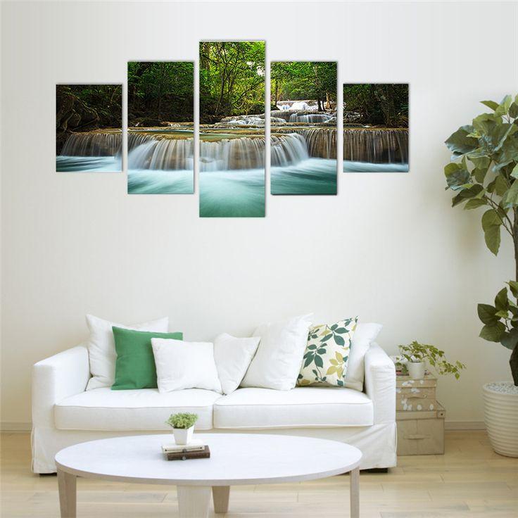 5 Panel Wasserfall Malerei Zu Hause Wohnzimmer Dekoration Leinwand Große  Leinwand Kunst Ungerahmt Kombiniert Öl Bild