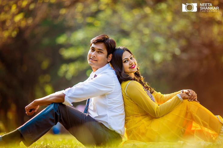 Yellow is a great color for outdoor shoots. Adds brightness to any image. #indian #bride #yellow #dress #prewedding #photoshoot #neetashankar #couple