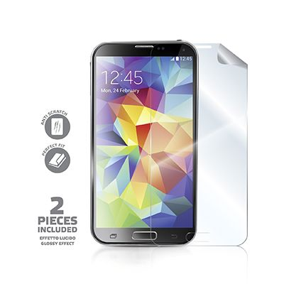 Pellicola protettiva lucida per Galaxy S5. La confezione include 2 pellicole screen protector lucide per proteggere lo schermo touchscreen dello smartphone da graffi, ditate, unto, sporco e polvere. Sono inclusi nella confezione un panno per la pulizia del display ed una spatola per l'applicazione della pellicola senza bolle d'aria. Proteggi il tuo Samsung al meglio con Celly.
