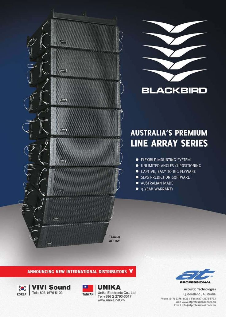 #ATProfessional - Products - The Blackbird is flying around the world. Australian designed and built.Flexible, easy to rig, versatile as well as sounding out of this world!  #pasystem #audiotechnology #linearray