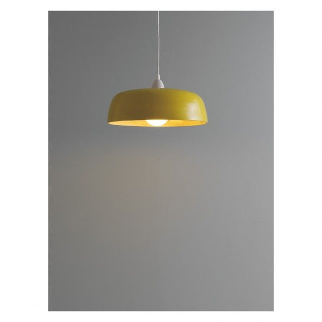 MOXLEY Yellow lacquered spun-bamboo ceiling light shade | Buy now at Habitat UK