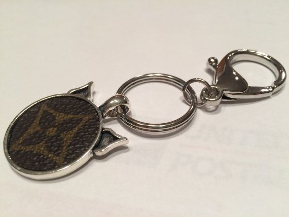 Louis Vuitton Upcycled Cat Head Keychain by LouisVuittonCustom