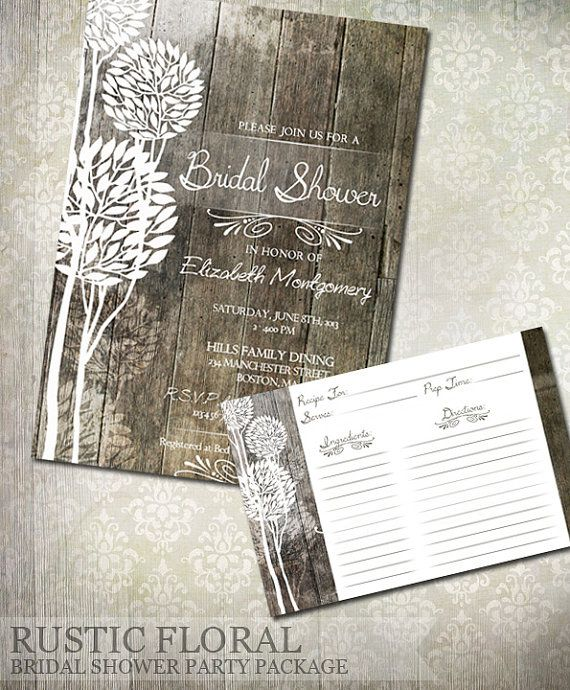 Rustic Wood Bridal Shower Invitations U0026 Recipe Cards   Digital File  Printable   Wedding Shower Invitations A Great Rustic Wood Background Holds