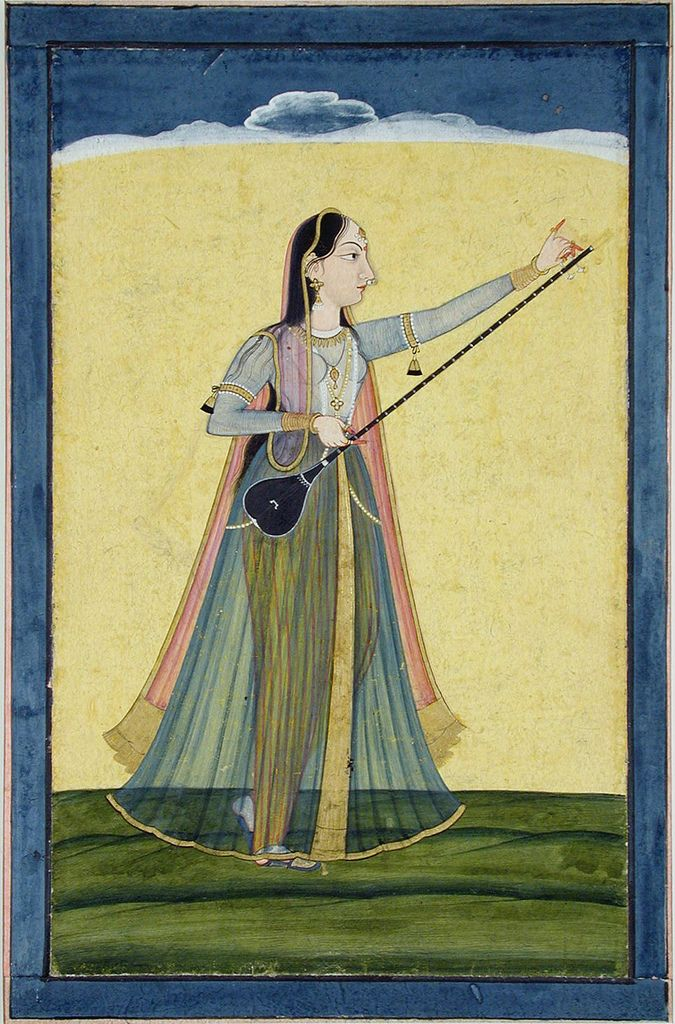A woman tunes her tambura -  ca. 1740 Edwin Binney 3rd Collection The San Diego Museum of Art