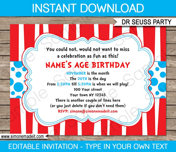 Dr seuss party invitations template birthdays dr suess for Dr seuss birthday card template