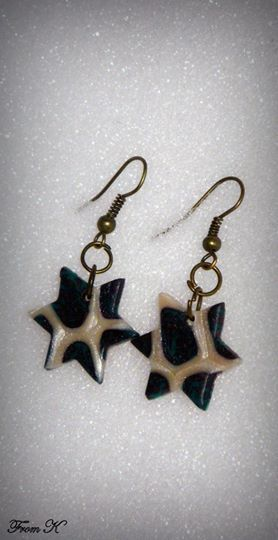 """Small juniper star drop earrings. Intricate juniper and pearl millifiori polymer clay design. Incredibly lightweight, Easy and convenient wear. Because each piece is handmade, every piece is completely unique and carries its own """"flaws"""" making it one-of-a-kind. About 3 cm long with ear piece. 7.00 Ron"""