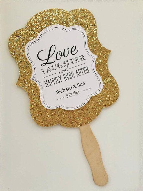 SET di Glitter oro personalizzati a mano Fan - rustico bomboniera - matrimonio ventagli - Menu personalizzati matrimonio - nozze d'oro