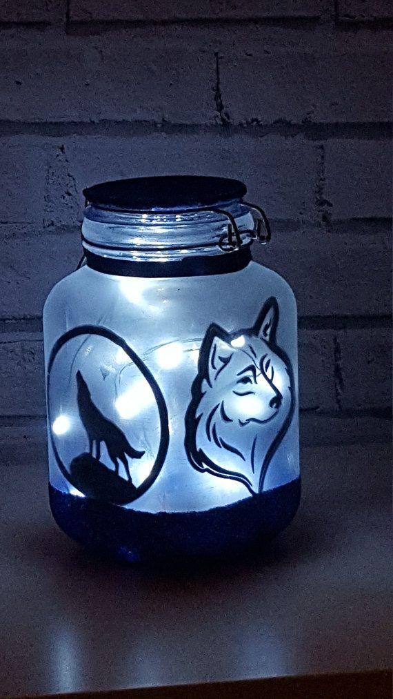 Wolf Nachtlicht Grosse Fee Leuchten Jar Wolf Geschenk Wolf Kindergarten Wolf Dekor Wolf Lampe Wolf Licht Wolf Aufkleber Wolf Decor Unique Terrarium Native American Crafts