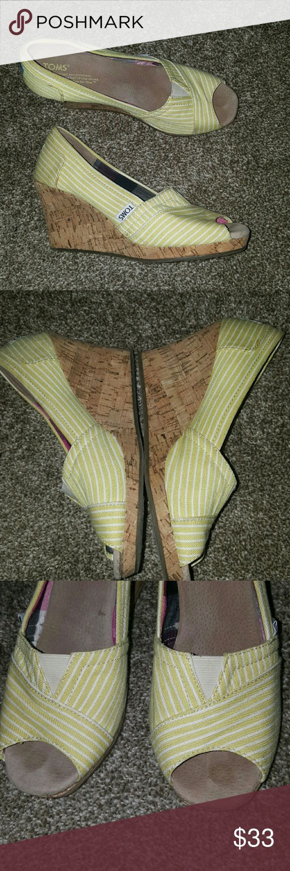 TOMS Yellow/White Striped Wedge Sandals Great used condition.  Light dirt spot (pic 5).  Please review all photos before purchasing.  Thanks TOMS Shoes Wedges