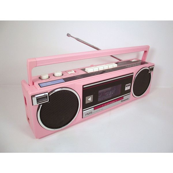 Vintage Panasonic 1980s Pink Portable BoomBox AM FM Radio Cassette... ❤ liked on Polyvore featuring electronics