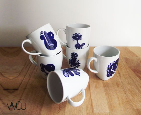 Mug Set 2 by VAVOUhandythings on Etsy
