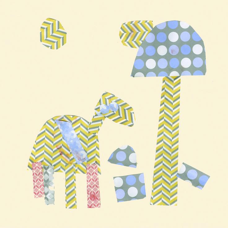 Lili. Giraffe underneath a palm tree wanting to eat a mushroom