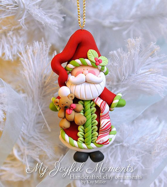 Handcrafted Polymer Clay Santa Claus with Bear Ornament
