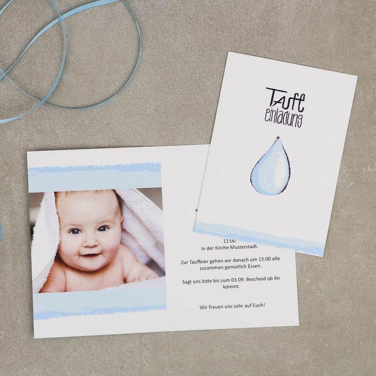 Wassertropfen | Einladung Zur Taufe #einladung #taufe #feier #papeterie  #auqarell