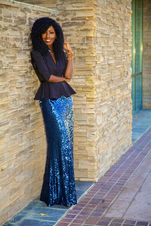 Folake does it again...now I want a sequined maxi skirt in a jewel tone!
