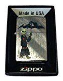 Zippo Custom Lighter - Gray Days EMO Punk Skull Guy w/ Rain & Umbrella Diagonal Weave