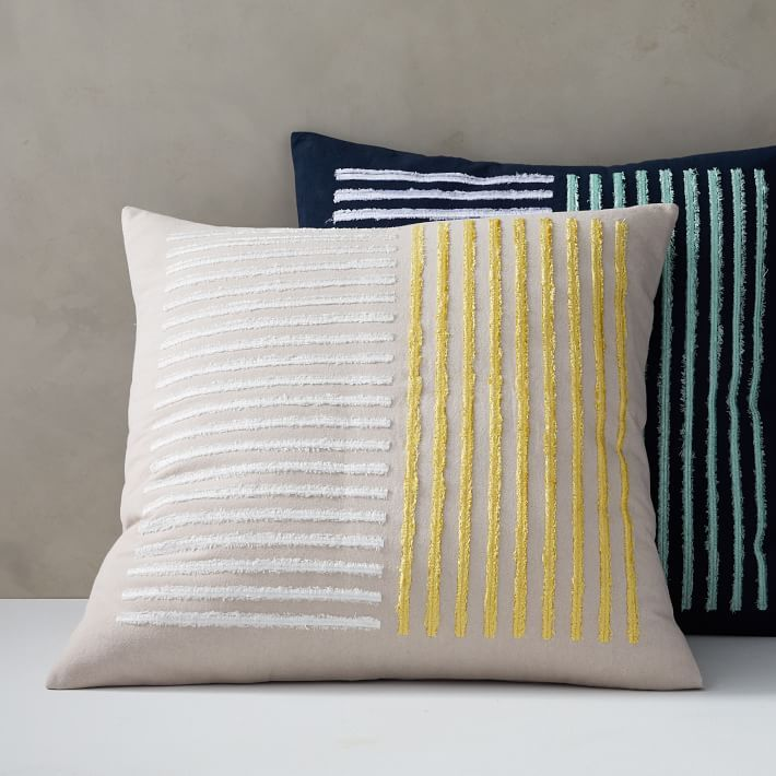 Embroidered Lines Pillow Cover Pillow Covers Pillows Pillow Texture