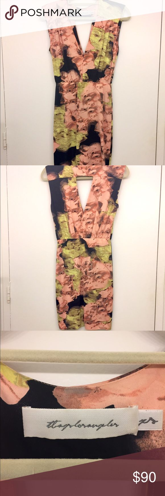 TBAGS LOS ANGELES Floral Body-con Dress Beautiful blurred floral body-con with a deep v neck and keyhole back.  Self lined ITY, smooth hand.  Only worn one or two times, still in brand new condition. TBAGSLOSANGELES Dresses Mini