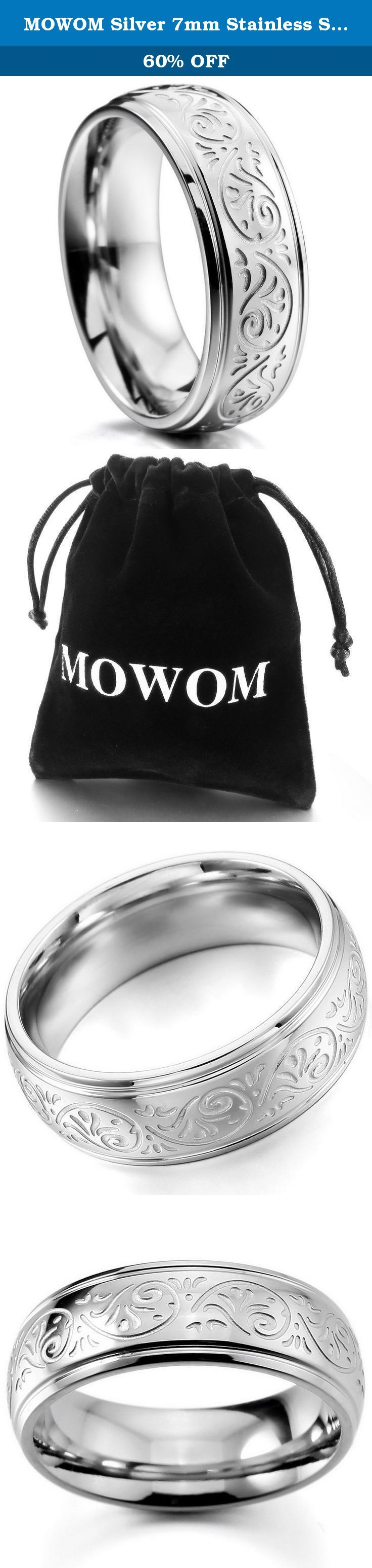 MOWOM Silver 7mm Stainless Steel Ring Band Engraved Florentine Design Size 4 To Size 15 9. Silver 7mm Stainless Steel Ring Band Engraved Florentine Design Size 4 To Size 15.