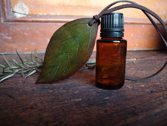 Leather Leaf Essential Oil Diffuser  Single Leaf by Hammerthreads