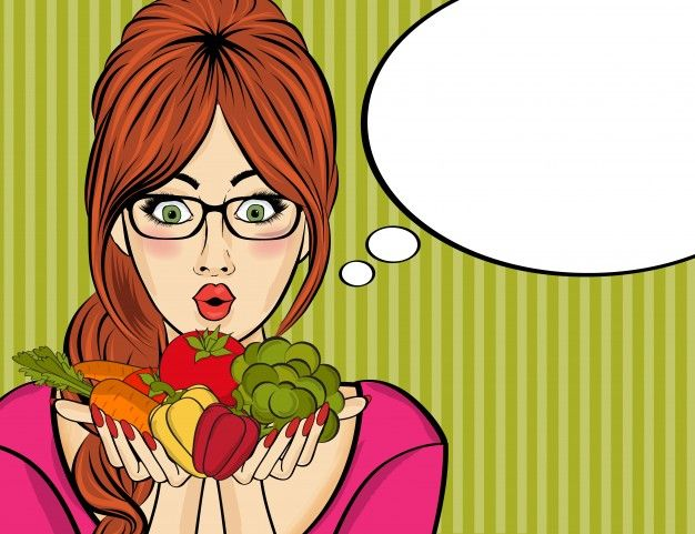 Surprised pop art woman that holds vegetables in her hands  Free Vector