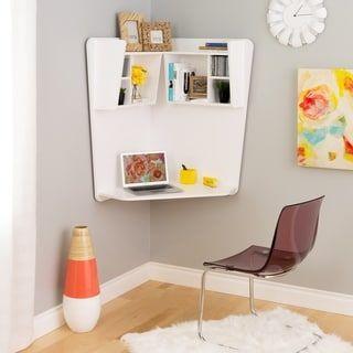 Prepac Winslow White Wood Floating Corner Desk