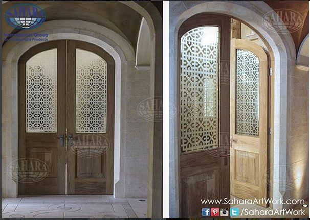 Sandblasted Islamic design.. Such a beautiful combination with these wooden doors!