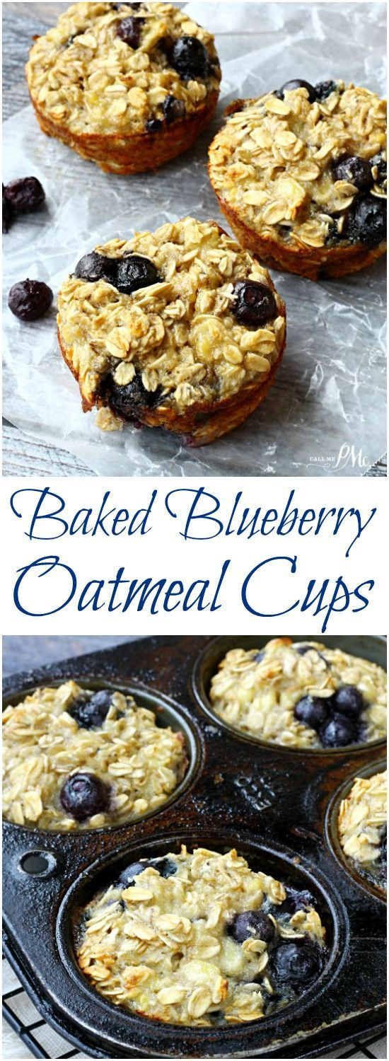Baked Blueberry Oatmeal Cups | Quick & easy, these healthy breakfast muffins have no added sugar & are surprisingly filling.