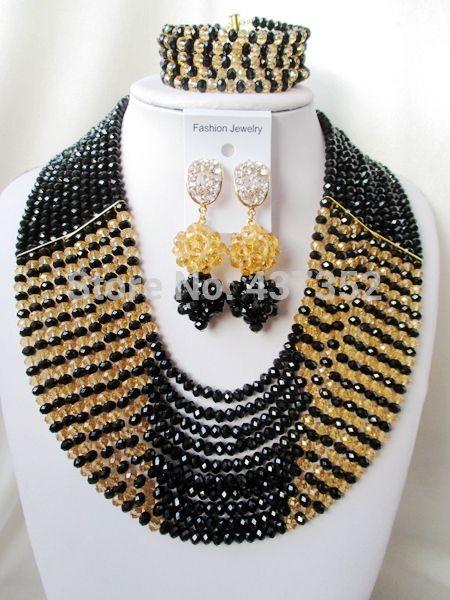 Мода Черный и Шампанское золото кристалл ожерелья костюма ювелирные нигерийский свадьбы африканские бусы комплект ювелирных изделий ABC236
