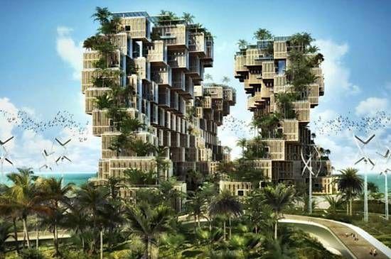 Edifícios com fachada orgânica modular são a proposta do arquiteto belga Vincent  Callebaut para urbanização do Haiti. A intenção é que as varandas verdes sejam uma fonte de alimentos para os moradores locais, principalmente, em caso de catástrofes naturais