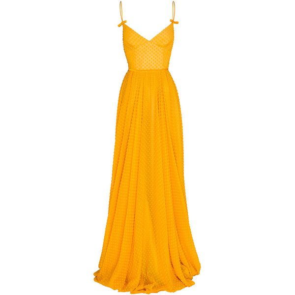 Alex Perry Pamela Bow Gown ($2,050) ❤ liked on Polyvore featuring dresses, gowns, orange gown, orange cami, floor length skirt, ankle length skirt and v neck dress