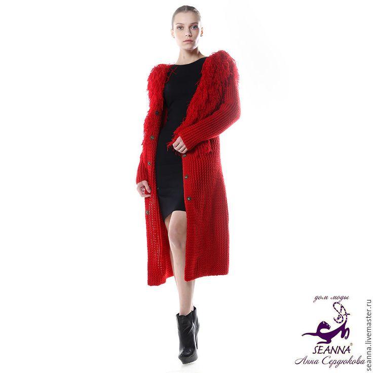 """Купить Вязаное пальто из мериносовой шерсти с шелком """"Рубиновая Лама"""" - пальто вязаное, кардиган вязаный"""