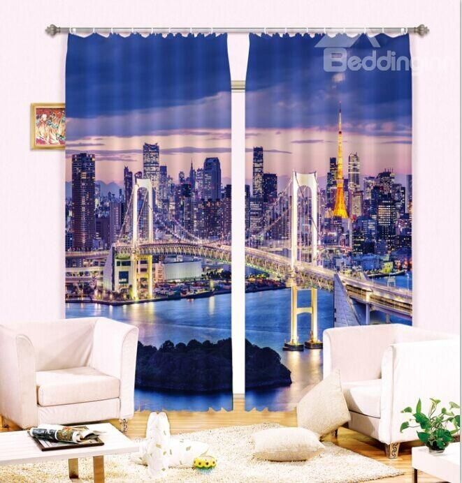 Life In the Big City Fascinating Urban Scene 3D Curtain on sale, Buy Retail Price 3D Scenery Curtains at Beddinginn.com