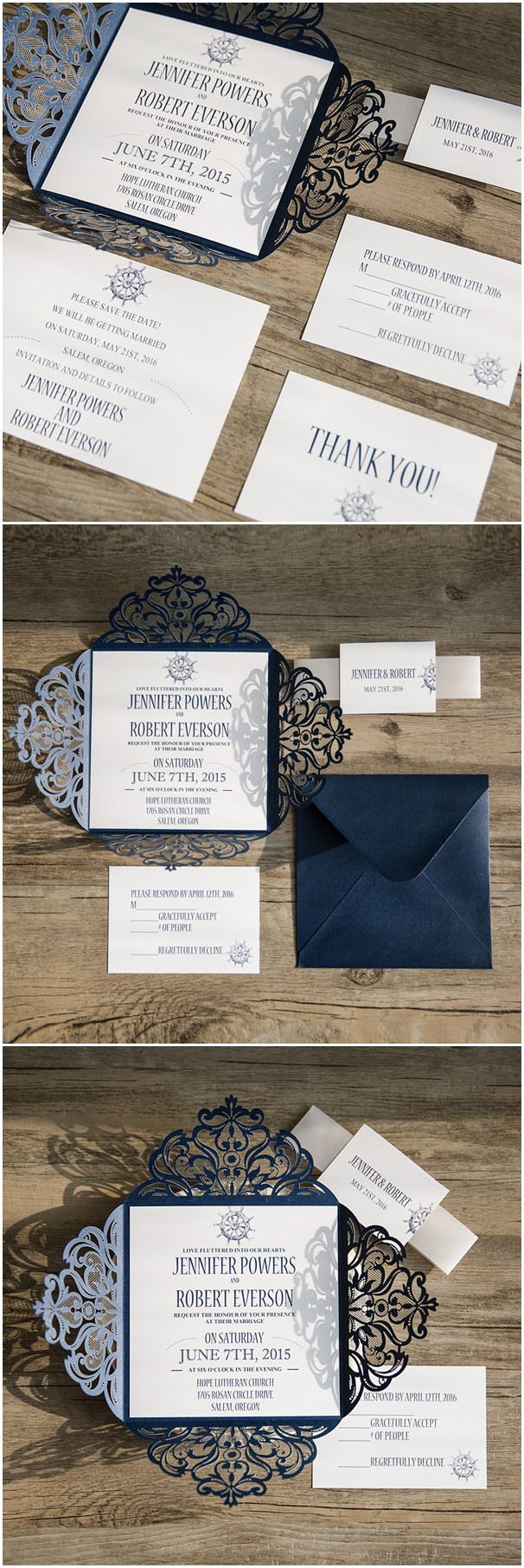 deer hunter wedding invitations%0A classic nautical themed navy blue laser cut wedding invitations