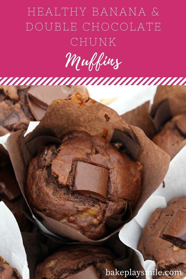 Healthy Banana & Double Chocolate Chunk Muffins that take just 5 minutes to prepare, are moist and totally delicious! Perfect for a breakfast-on-the-go or a lunchbox treat.
