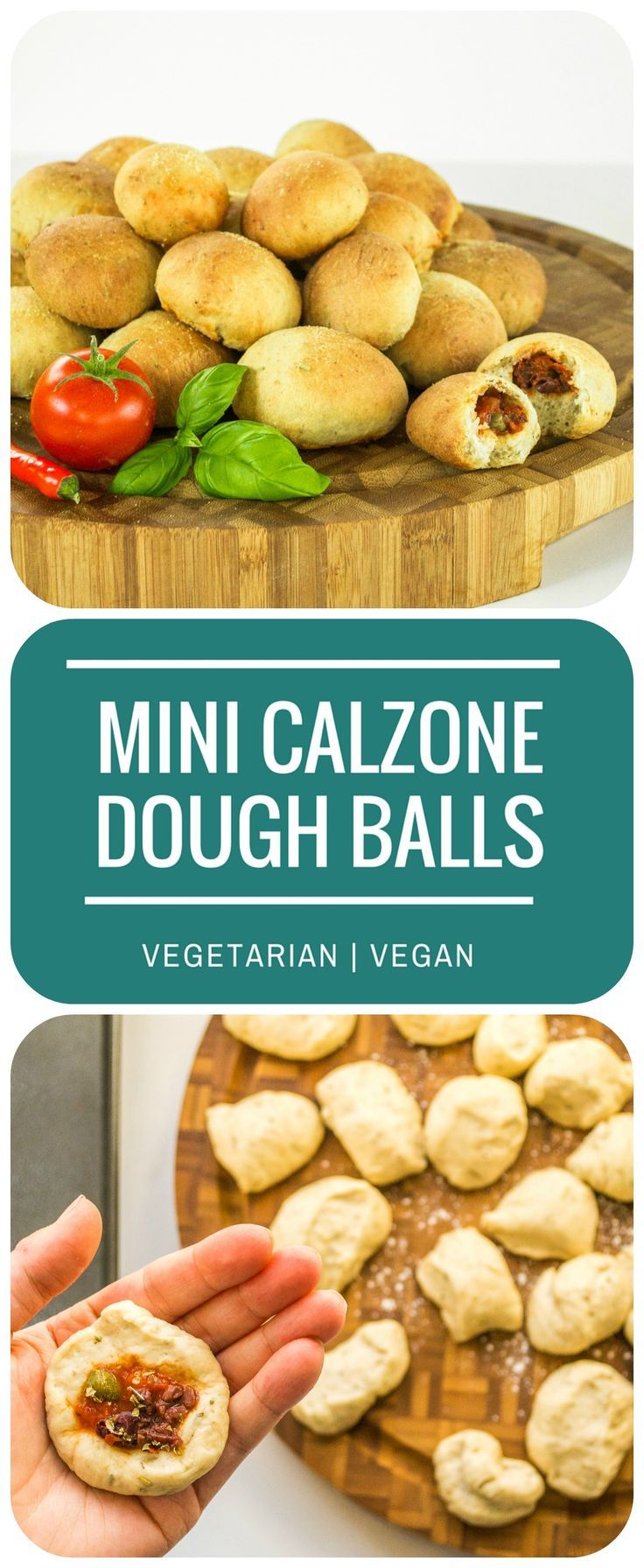 These Mini Calzone Dough Balls are a fabulous vegetarian or vegan party nibble - serve as they are, or with a salsa or avocado mayo dip, or garlic butter!