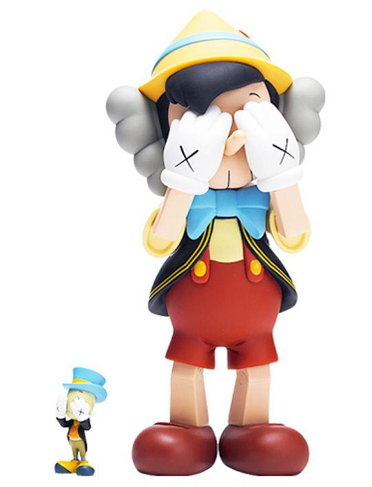 Original Fake KAWS Pinocchio and Jiminy Cricket Toy Set - A Detailed Look