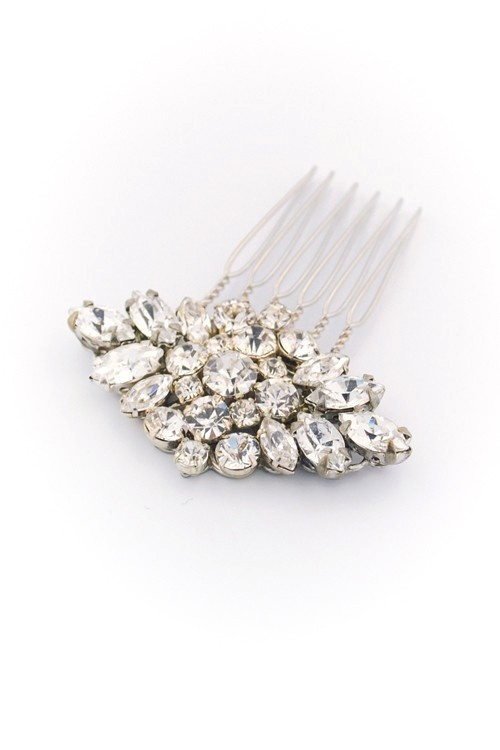 Swarovski crystal bridal hair comb, wedding hair brooch. (80 USD)