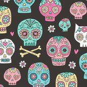 Sugar Skulls on Black by caja_design