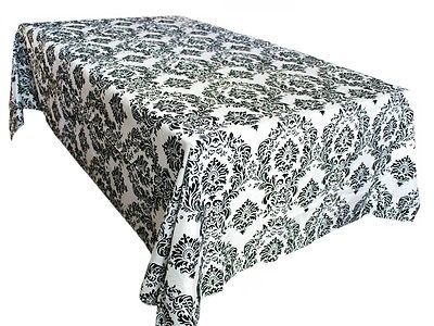 "90""x132"" Black White Damask Flocked Taffeta Tablecloth Wedding WHOLESALE SUPPLY"