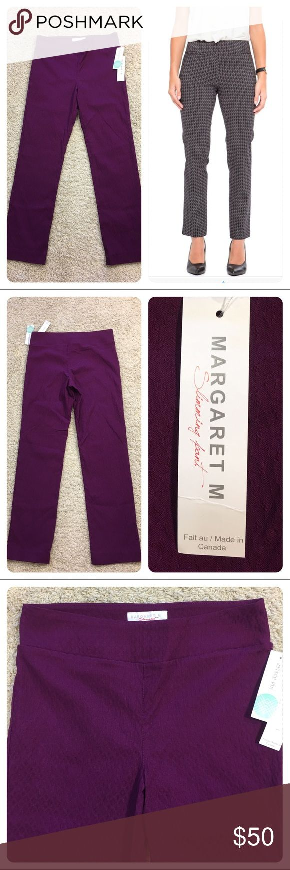 NWT! Stitch Fix Margaret M straight leg  pant New with tags!  Stitch Fix Margaret M  - Printed Slimming Straight Leg Pant. Beautiful jewel tone purple.  Slimming Pants Our guiding principals for our slimming pants: Versatility is key to streamlining your wardrobe;  Quality will assure you comfort and easy care; And fit is everything.  First pic is another style of the Margaret M slimming pant. Stitch Fix Pants