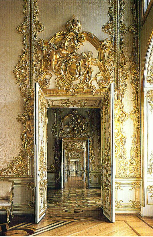 Catherine palace golden enfilade (The Catherine Palace is a Rococo palace located in the town of Tsarskoye Selo, 25 km southeast of St. Petersburg, Russia. It was the summer residence of the Russian tsars, opened 1756)