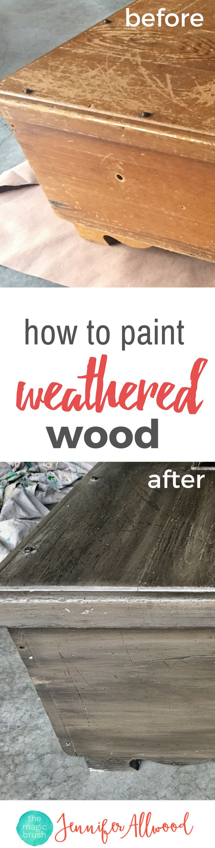How to paint weathered wood finish. Make any surface look like weathered barnwood and go with farmhouse decor. Painting Tips and Techniques by theMagicBrushin.com
